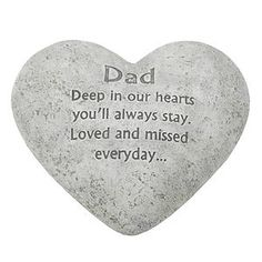 In Loving Memory Graveside Heart Plaque Stone - Dad Grave Memorial