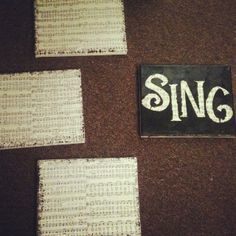 Wall decor! Super simple! Canvas, modgepodge and paint. Modgepodge some old sheet music (I used hymns) to the canvas then paint using stencils!