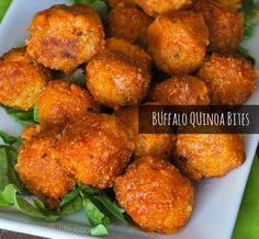 Buffalo Quinoa Bites. TO DIE FOR!!!! I baked them at 375 for 15-20 minutes.... AMAZING!!! I will definitely make them again! :D