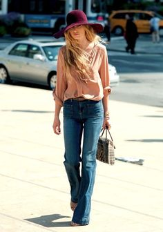 Street style blush blouse, burgundy hat and retro denim
