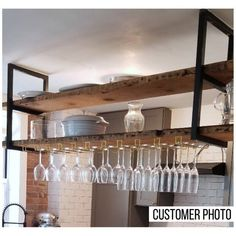 Ready to ship in business days! These Ceiling-Mounted Floating Shelf Brackets are handcrafted out of heavy duty steel. Capacity, if properly installed into trusses, is rated for 160 lbs. Price is for two brackets- wood not included in price. Heavy Duty Floating Shelves, Floating Shelf Brackets, Floating Shelves Kitchen, Kitchen Shelves, Floating Wall, Kitchen Storage, Kitchen Cabinets, Wood Shelving Units, Wood Shelves