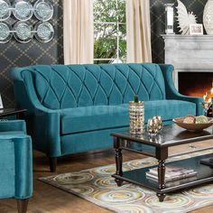 Limerick Sofa - Description : Updating your living space with unique additions has never been easier thanks to this fabulous sofa! Boasting bold, beautiful colors, this piece is sure to be t Living Room Setup, Living Room Sofa, Sofa Design, Interior Design, Painted Couch, Livng Room, America Furniture, Teal Sofa, Classic Sofa