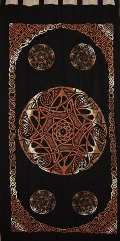 Celtic Wheel of Life Tab Top Curtain-Door Panel-Beauty by India Arts. $19.87. 100% Cotton. Machine Washable. 44 x 88 inches. Unique Home Decor. GORGEOUS CELTIC TAB TOP PANEL~ Beautiful Celtic tab top curtain/door panel. Made of 100% power-loomed quality cotton offering a nice tight weave. Panel measures approximately 44 inches wide X 88 inches tall including the tabs. They can be machine washed on cool/gentle and tumble dried. All panels are sold individually. Dupli...