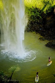 Stand up surfing in Costa Rica #SUP #waterfall