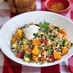 Za'atar-roasted vegetable, lentil and couscous pilaf