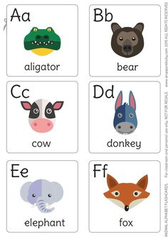 13 Sets of Free, Printable Alphabet Flash Cards for Preschoolers: Animal Alphabet Flash Cards from Singapore Baby