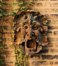 Bruno Greenman Wall Plaque, Fiberstone-Garden-Statues-All, Architectural Sculpture, Garden Wall Art, Wooden Art, Green Man, Garden Statues, Animal Design, Sculpture Art, Human Sculpture, Garden Sculptures