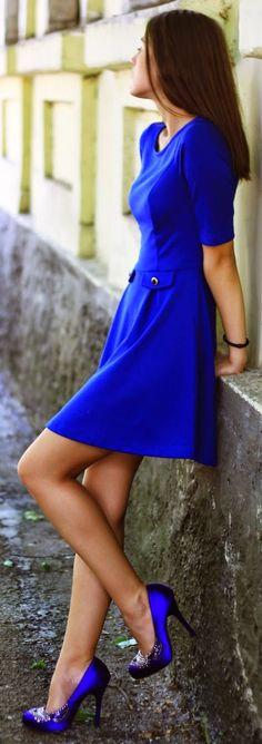 Cobalt Blue, Skater Dress.