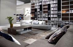 home living room w/#library   modern interior design   www.poliform.it