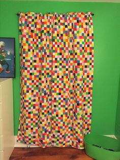 Curtains for teen boy video game theme bedroom made from an IKEA duvet cover.