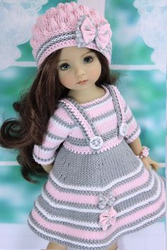 Diy Crafts - -Outfit for doll 13 Deanna Effner Little Darling Knitting Dolls Clothes, Baby Doll Clothes, Crochet Doll Clothes, Knitted Dolls, Crochet Girls Dress Pattern, Doll Dress Patterns, American Girl Clothes, Cute Dolls, Girl Dolls