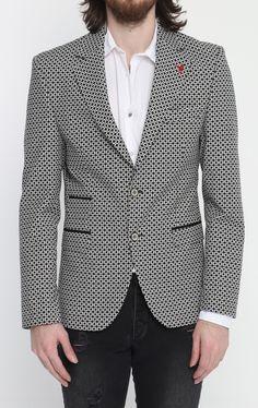 dd987194dae3 Black Checkered Fitted Blazer Sport Coat, Double Breasted, Menswear, Shawl,  Retro,