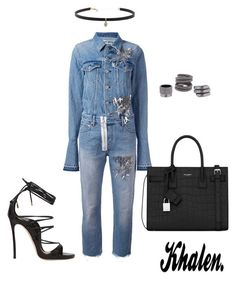"""Denim Overall"" by khalen ❤ liked on Polyvore featuring Off-White, Dsquared2, Yves Saint Laurent, Carbon & Hyde and Maison Margiela"