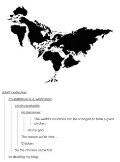 The world's countries [sic] can be arranged to form a giant chicken :D #FitnessFunny