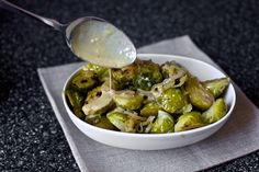 Brussel sprouts with dijion sauce. So yummy and a great new way to enjoy this neglected veggie :)