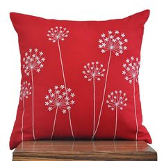 """Off White Hydrangea - Throw Pillow Cover - 18"""" x 18"""" Decorative Pillow Cover - Red Linen with Off White Floral Pattern Embroidery. $23.00, via Etsy."""