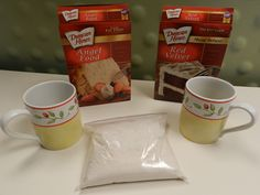 3-2-1 Microwave cake in a mug! (Mix angel food mix and any other cake mix together)  3 tablespoons combined cake mix, 2 tablespoons water, 1 minute in the microwave.