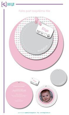 montage faire part bapteme fille First Birthday Cards, First Birthdays, Baby Box, New Baby Cards, Baby Invitations, Silhouette Portrait, Album Book, Baby Crafts, Holidays And Events
