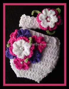 All Free Crochet Diaper Covers | Crochet-Pattern-Flower-Nappy-Diaper-Cover-Wrap-Headband-Baby-or-Reborn