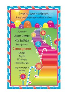 Candy land birthday party invitations candy chocolate kids birthdays invitationlollipop clip art accent and black lettering for candyland theme kids birthday party invite wordinginspirations kids birthday party stopboris Images