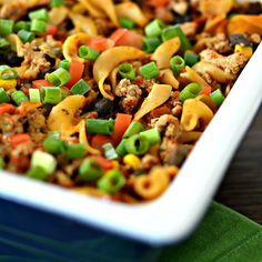 Beef Taco Noodle Casserole - Easy to make and full of flavor. #PAMcookingspray #Ad #AllstarsPAM #MyAllrecipes #AllrecipesAllstars