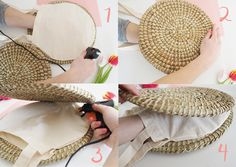 diy bag Kick off the summer in style with this easy DIY wicker circle basket bag tutorial. Diy Clutch, Diy Purse, Clutch Bag, Trash To Couture, Round Straw Bag, Baby Clothes Brands, Diy Bags Purses, Diy Couture, Bag Patterns To Sew