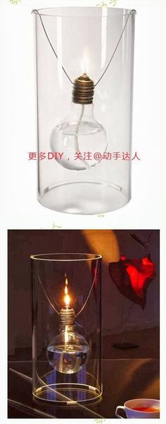 DIY : Romantic Light Bulb Oil Lamp by Hairstyle Tutorials Home Crafts, Diy And Crafts, Wine And Liquor, Oil Lamps, Craft Party, Glass Bottles, Decorating Tips, Light Bulb, Diy Light