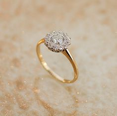 Antique Flower Cluster Diamond Engagement Ring by SITFineJewelry