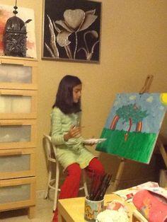 Pintando árbol arco iris