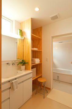 Pin on 洗面所 Residential Interior Design, Diy Interior, Home Interior Design, Laundry In Bathroom, Washroom, My Home Design, House Design, Lava, Japanese House