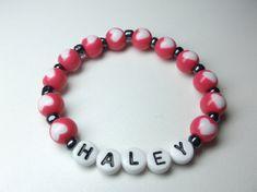Personalized name bracelet girls heart beads by Sellingitforyou