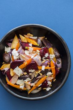 A beautiful and filling salad. Our Winter Root Vegetable Salad has some shaved feta on top so it melts in your mouth!