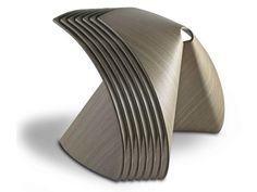 Low stackable multi-layer wood stool by Shin Azumi