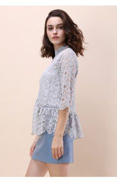 Art of Crochet Top in Grey - Tops - Retro, Indie and Unique Fashion