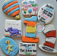 Oh the Places you'll Go!Perfect set of cookies to serve as a congratulatory gift!Dr. Seuss and his magic come to life in this cookie set.Cookie set comes with 4 of the following:-Cats Hat-Hot Air Balloon-Today you are you-Oh the places-Little Boy-Elephant-You have brains...Cookies all measure from 3 inches to 4 inches in size.Each comes individually wrapped and sealed for max protection and freshness.