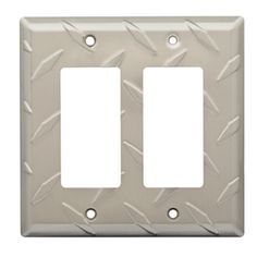 Brainerd Diamond Plate 2-Gang Satin Nickel Double Decorator Wall Plate
