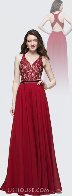 Pretty and Appealing, you'll be one flawless Prom Queen in this A-Line/Princess V-neck Floor-Length Prom Dress. #JJSHOUSE