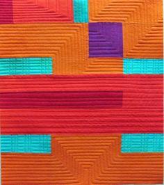 "Minimalist Quilting Hand dyed cottons, machine pieced, machine quilted. 16.25""x 18.5"""