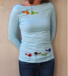 only one original - hand painted and embroidered with colourful birds.