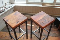 Reclaimed Pine on Metal Square Bar Stools by Vermontfarmtable - eclectic - bar stools and counter stools - Etsy Essential Woodworking Tools, Best Woodworking Tools, Woodworking Lamp, Woodworking Organization, Woodworking Supplies, Woodworking Crafts, Counter Height Pub Table, Counter Stools, Kitchen Stools