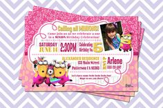 DIY DIGITAL PRINTABLE - Disney's Despicable Me Minion Girl Pink Yellow Personalized Invitation on Etsy, $4.00