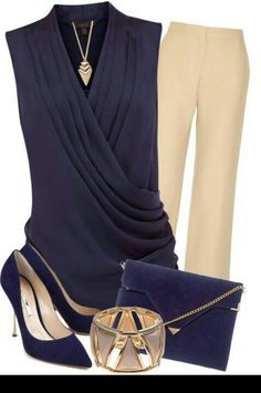 Very elegant blue and beige outfit