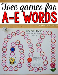Kids love games for learning tricky phonics patterns like silent e! Try this freebie when teaching a-e words. Phonics Words, Spelling Activities, Phonics Activities, Spelling Games, Listening Activities, Teaching Phonics, Work Activities, Teaching Resources, Reading Games For Kids