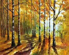 sunny birches - original art oil painting by Leonid Afremov Photo: This is an original oil on canvas. I use only a palette-knife for painting. Tree Wall Art, Tree Art, Popular Paintings, Autumn Forest, Birch Forest, Palette Knife Painting, Leonid Afremov Paintings, Oil Painting On Canvas, Canvas Art