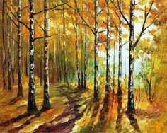 Sunny Birches by Leonid Afremov