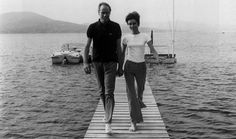 """St. Tropez, July 1966.    Mel Ferrer photographed by Pierluigi Praturlon with his wife Audrey Hepburn, on a location for the film """"Two for the Road"""", in St. Tropez (France), June 1966."""
