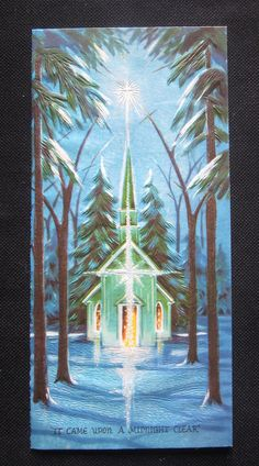 Vintage Christmas Greeting Card Church in Blue Mid Century Embossed