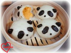 Loving Creations for You: Panda Liu Sha Bao -- My first bao making attempt Cute Desserts, Asian Desserts, Liu Sha Bao, Chinese Food, Chinese Recipes, Chiffon Cake, Creative Food, High Tea, Como Zoo