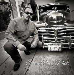 Emilio Rivera  the car and black n white