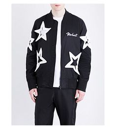 KTZ Star-Embroidered Shell Bomber Jacket. #ktz #cloth #coats & jackets